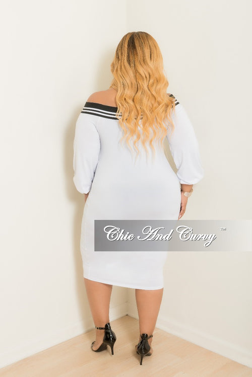 Final Sale Plus Size Off the Shoulder Dress in White with Black Trim