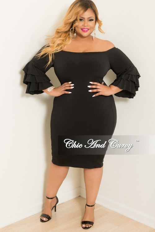 Final Sale Plus Size Off the Shoulder BodyCon Dress with Ruffle Sleeves in Black