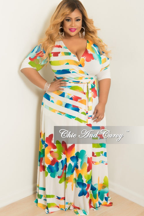 Final Sale Plus Size Wrap Dress with 3/4 Sleeve and Tie in Off White with Multi Color Butterfly Print