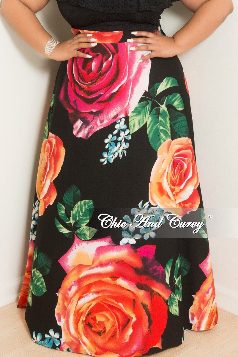 35% Off Sale - Final Sale Plus Size High-Waist Maxi Skirt in Black Floral Print in Crepe Fabric