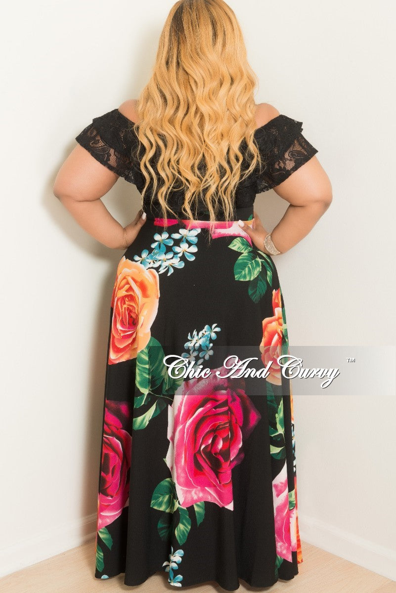 New Plus Size High-Waist Maxi Skirt in Black Floral Print in Crepe Fabric