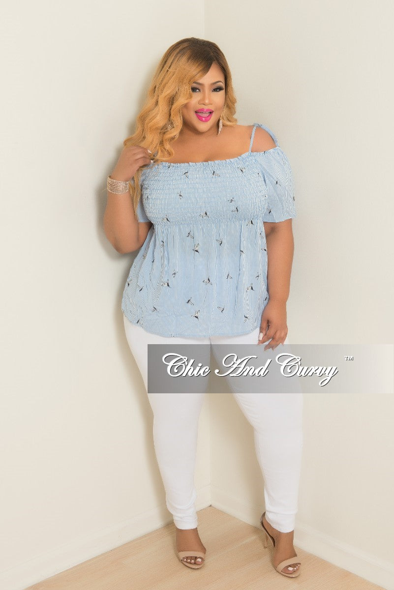 New Plus Size Hummingbird Stripe Printed Cold Shoulder Top in Powder Blue and White