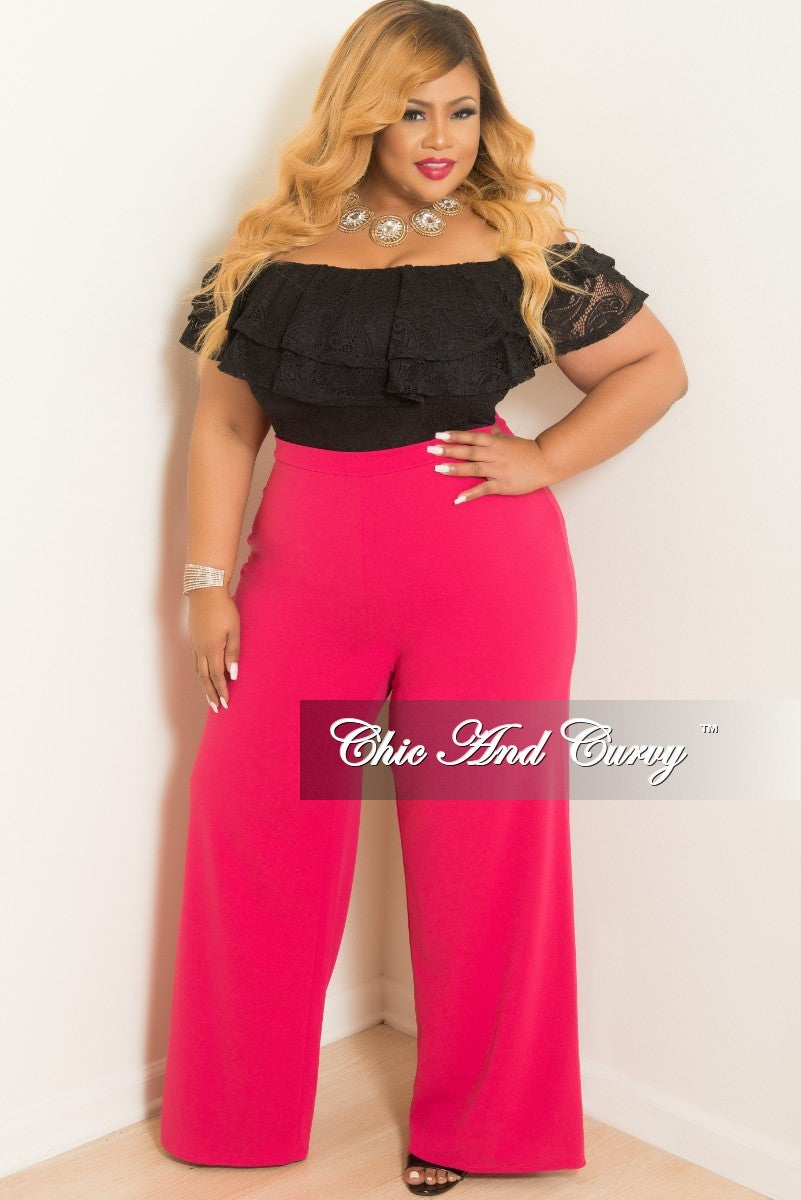 New Plus Size High-Waist Wide Leg Slacks / Pants with Back Gold Zipper in Hot Pink