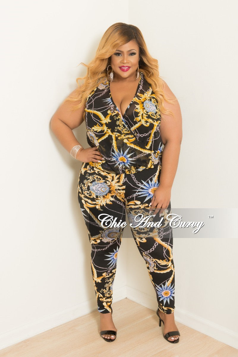 Final Sale Plus Size 2-Piece Faux Wrap Sleeveless Deep V Top and Pants Set in Black Multi Color Print
