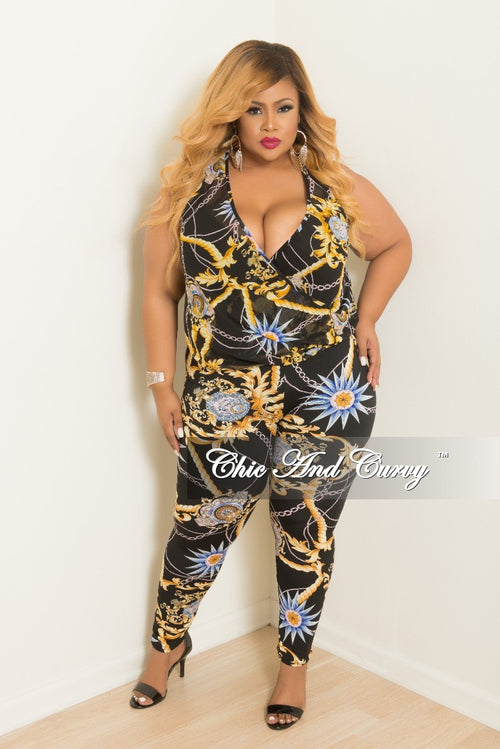 New Plus Size 2-Piece Faux Wrap Sleeveless Deep V Top and Pants Set in Black Multi Color Print