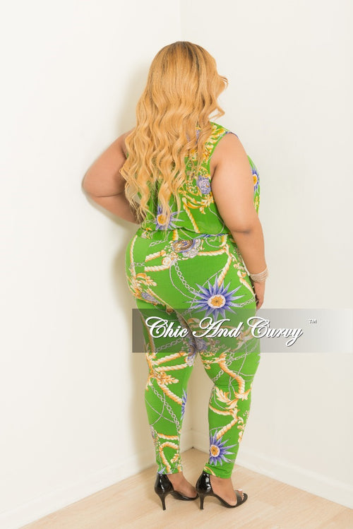 New Plus Size 2-Piece Faux Wrap Sleeveless Deep V Top and Pants Set in Green Multi Color Print