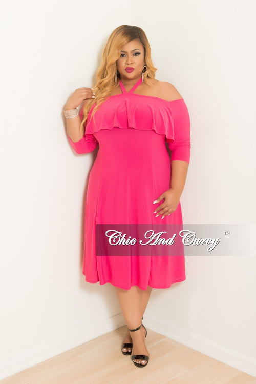 Final Sale Plus Size Halter Top Off the Shoulder Ruffle BodyCon Dress with 3/4 Sleeves in Hot Pink