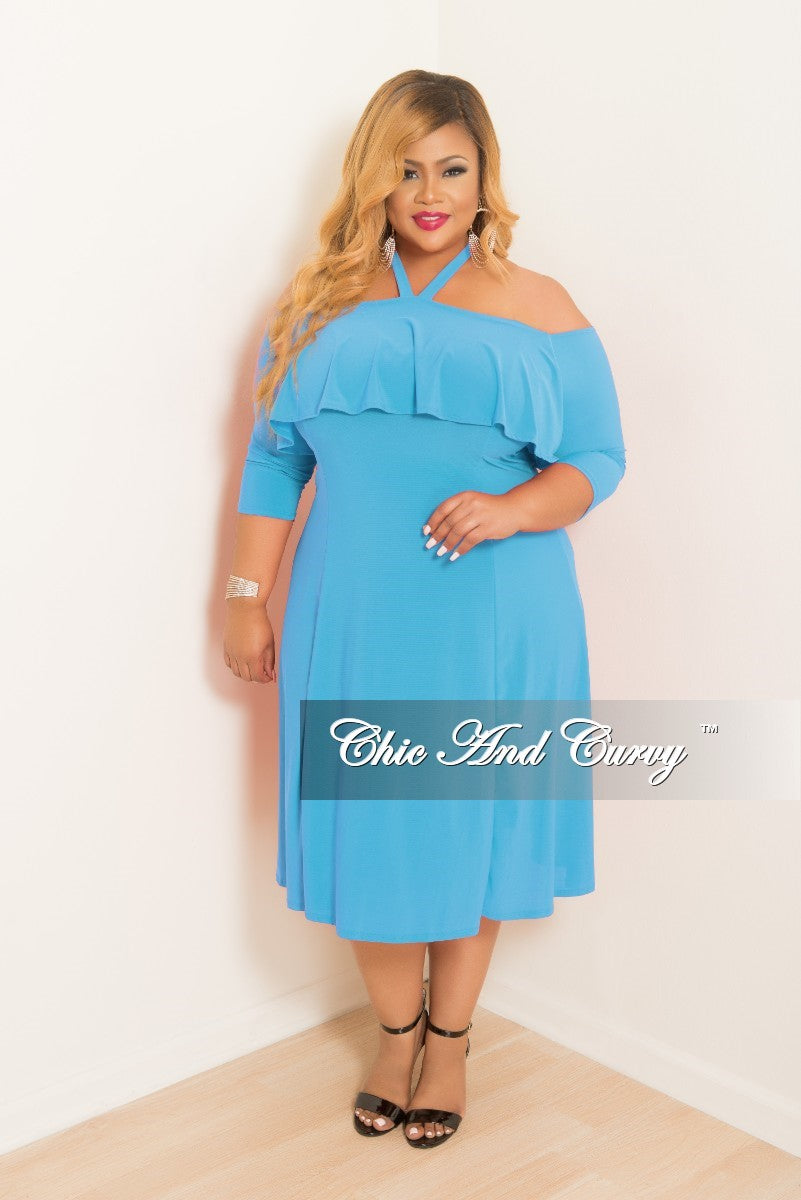 New Plus Size Halter Top Off the Shoulder Ruffle BodyCon Dress with 3/4  Sleeves in Turquoise