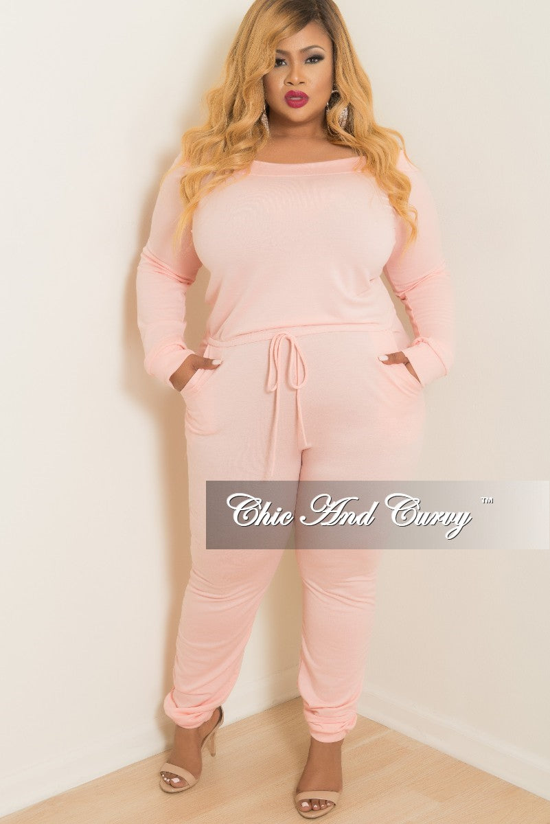 4712f98b10a Final Sale Plus Size Off the Shoulder Jumpsuit with Tie in Peach – Chic And  Curvy