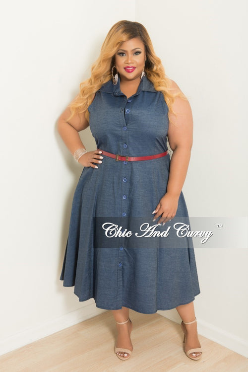 Final Sale Plus Size Sleeveless Button Up Collar Dress with Detachable Belt in Denim