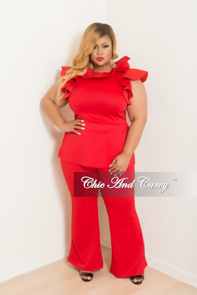 35% Off Sale - Final Sale Plus Size 2-Piece Ruffle Top with Slide Slits and Pants Set in Red