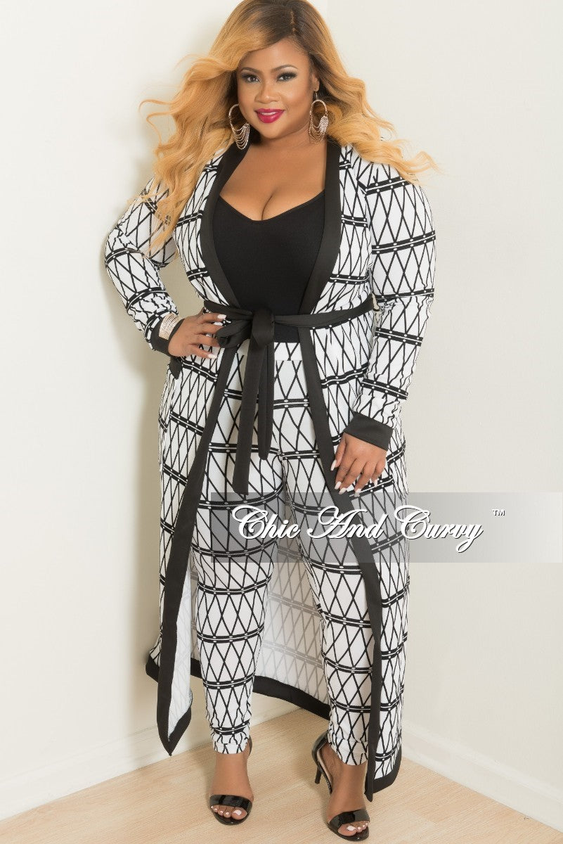 Final Sale Plus Size 2-Piece Maxi Cardigan and Pants Set in White and Black