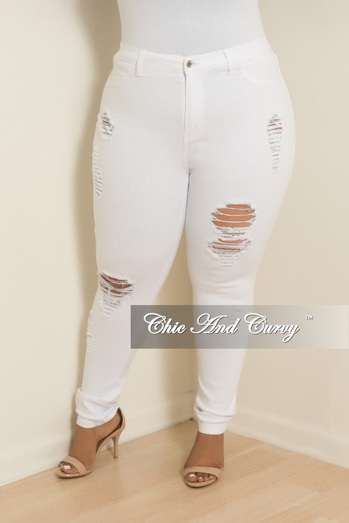 Final Sale Plus Size Distressed Pants in White Denim