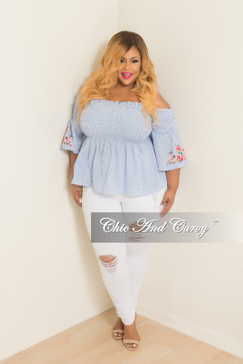 New Plus Size Stripe Top with Floral Embroidery Sleeves in Light Blue and White