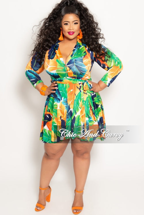 58978828e7b2 New Plus Size Long Sleeve Button Up Skater Dress with Attached Tie in Green  Multi Color