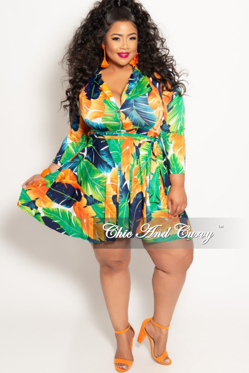 c69eeca64942 New Plus Size Long Sleeve Button Up Skater Dress with Attached Tie in Green  Multi Color