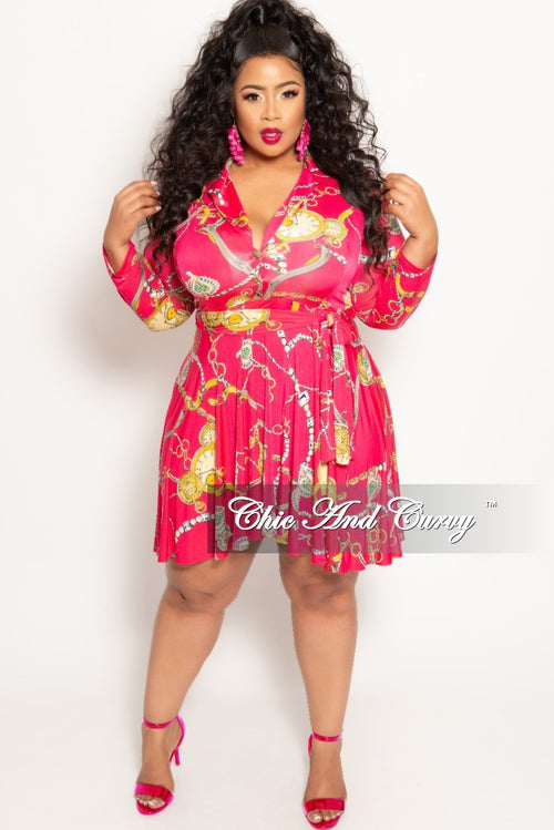 Final Sale Plus Size Chain Print Long Sleeve Button Up Skater Dress with Attached Tie in Fuchsia 3x