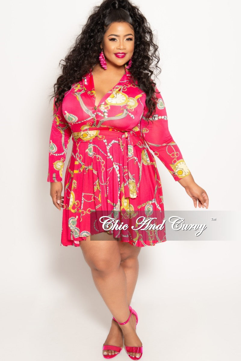 New Plus Size Chain Print Long Sleeve Button Up Skater Dress with Attached  Tie in Fuchsia