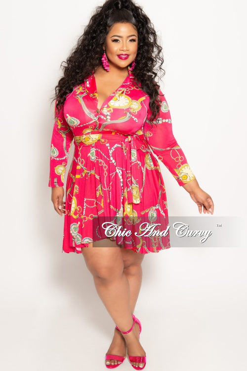 b3aef72ca015b New Plus Size Chain Print Long Sleeve Button Up Skater Dress with Attached  Tie in Fuchsia
