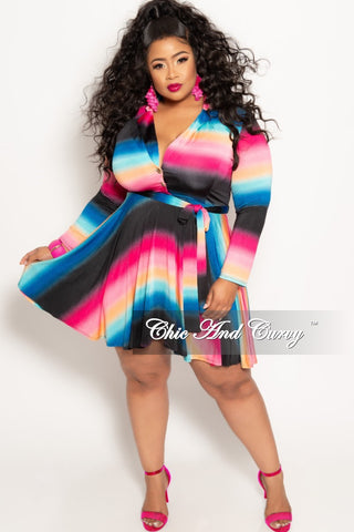 f29bcb6056f28 New Plus Size Long Sleeve Button Up Skater Dress with Attached Tie in Pink  Blue and Black Design Print
