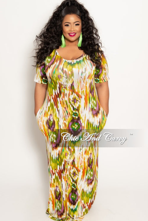 c6aafa701c1bc New Plus Size Short Sleeve Pocket Maxi Dress in Olive Multi Color Print