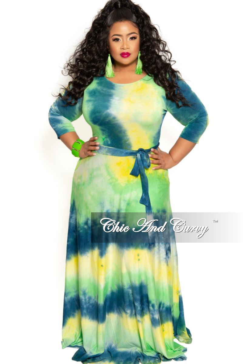 New Plus Size Pocket Maxi Dress with 3/4 Sleeves and Tie in Green ...