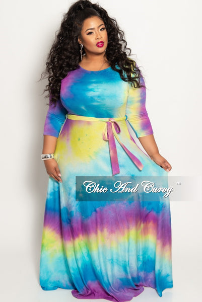 9b457da894447 New Plus Size Pocket Maxi Dress with 3 4 Sleeves and Tie in Purple Blu –  Chic And Curvy