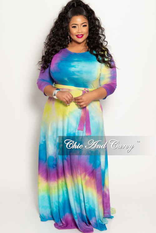 1e832390a479 New Plus Size Pocket Maxi Dress with 3 4 Sleeves and Tie in Purple Blue