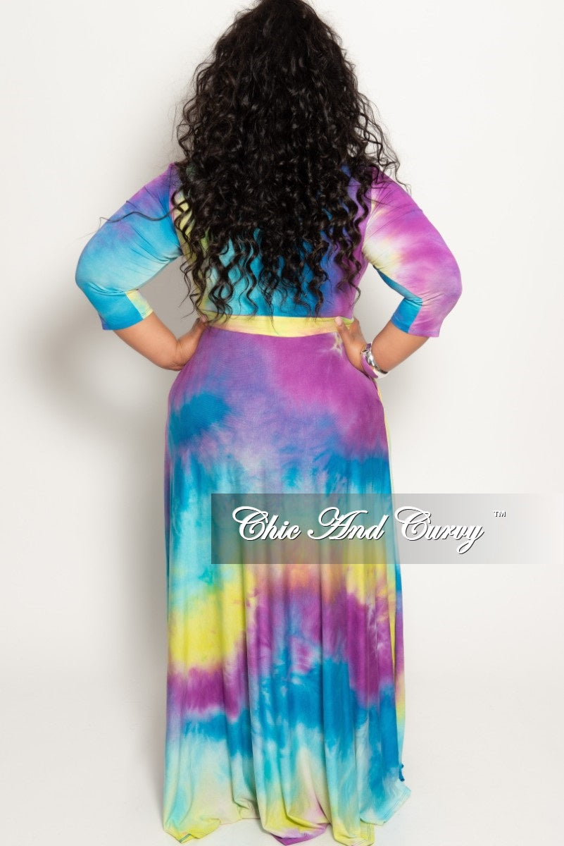New Plus Size Pocket Maxi Dress with 3/4 Sleeves and Tie in Purple Blue and Yellow Tie Dye Print