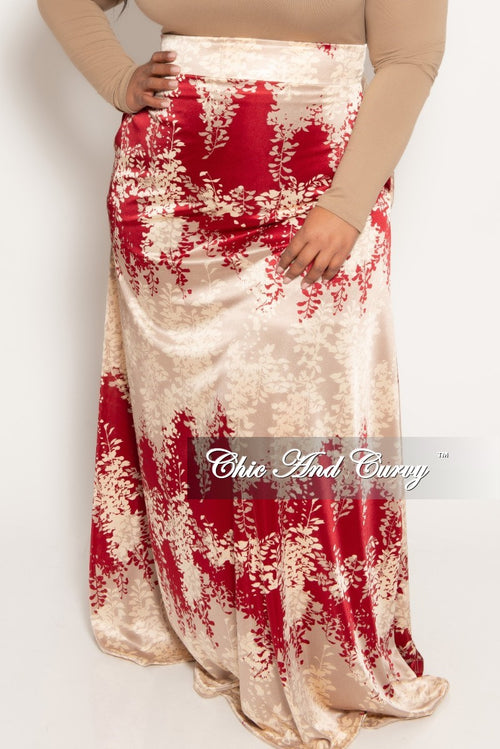 New Plus Size Long Maxi Skirt in Beige Red and Tan Leaf Print