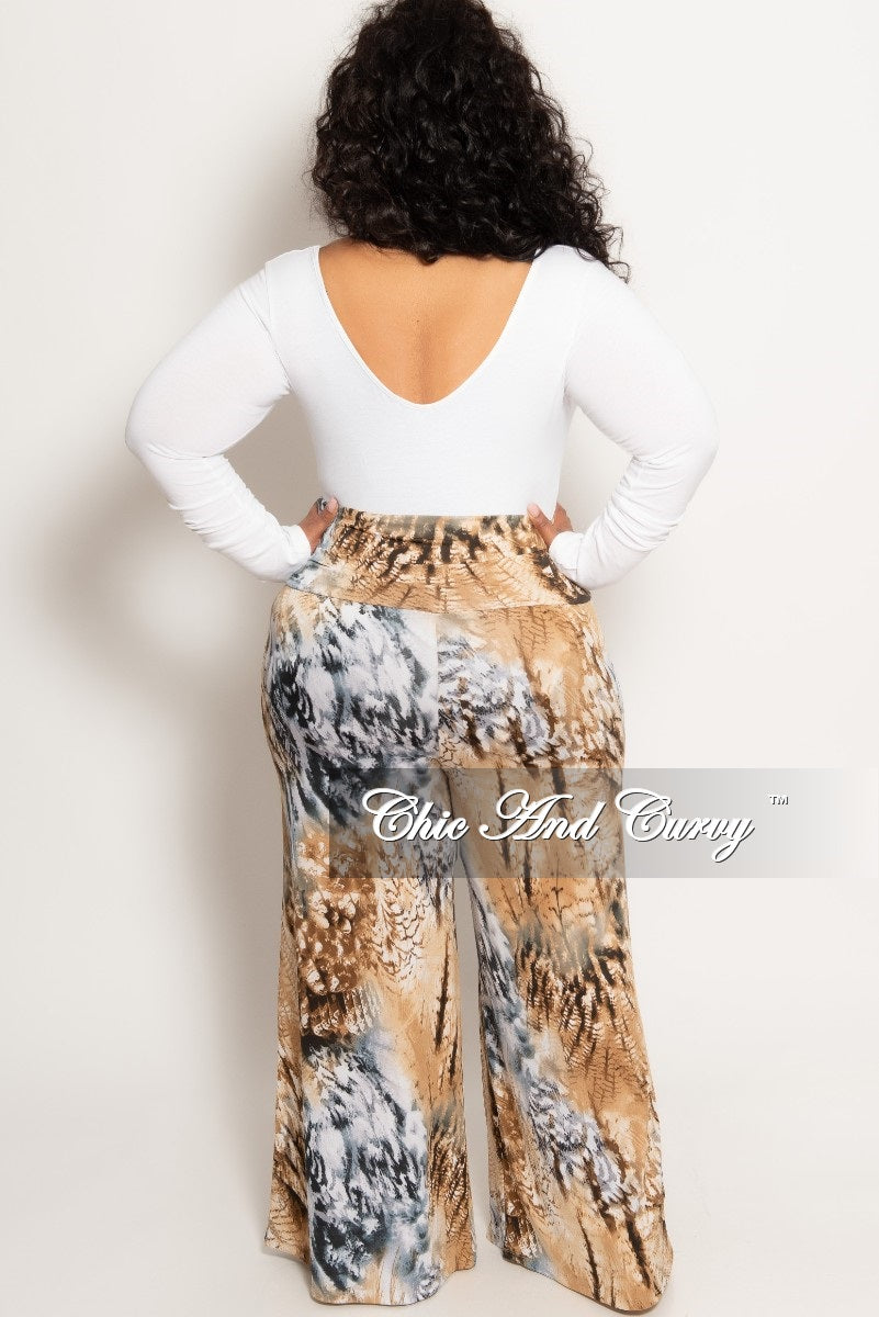 New Plus Size Palazzo Pants in Brown Tie Dye