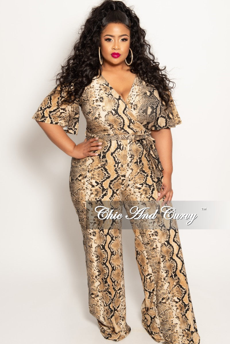 New Plus Size Short Sleeve Faux Wrap Jumpsuit in Attached Tie in Brown Snake Skin Print