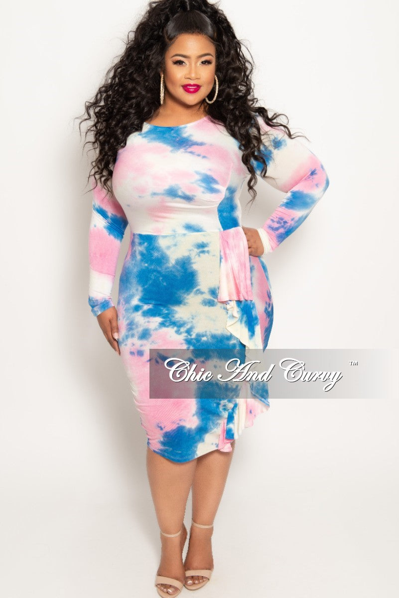 New Plus Size Long Sleeve BodyCon Dress with Side Ruffle in Pink Tie Dye Print