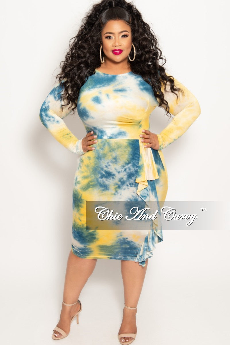 42d8a509fc525 New Plus Size Long Sleeve BodyCon Dress with Side Ruffle in Yellow Tie Dye  Print