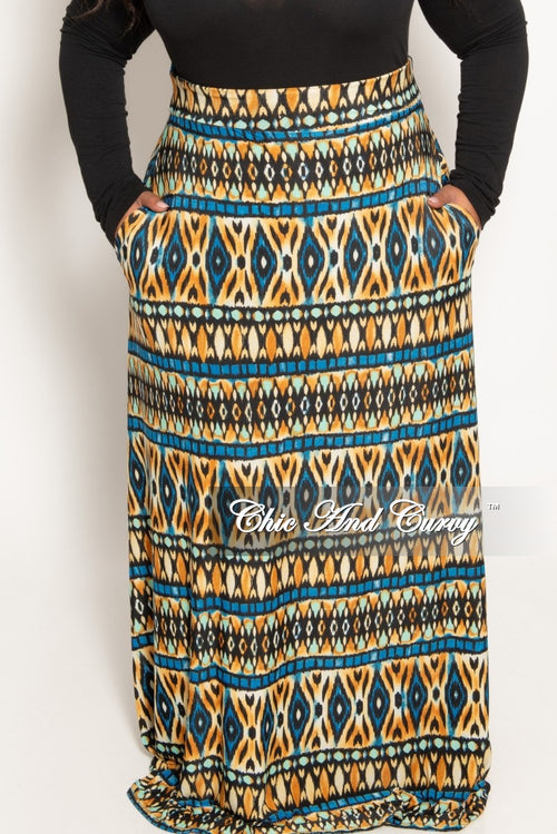 Final Sale Plus Size Long Maxi Skirt in Blue Green and Tan Design Print