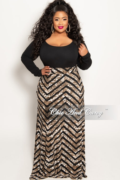 New Plus Size Long Maxi Skirt in Animal Zig Zag Design Print