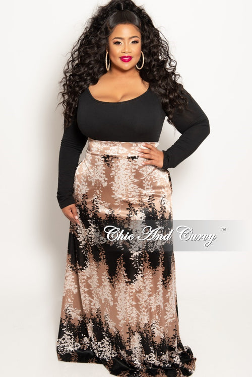 New Plus Size Long Maxi Skirt in Brown Black and Tan Leaf Print