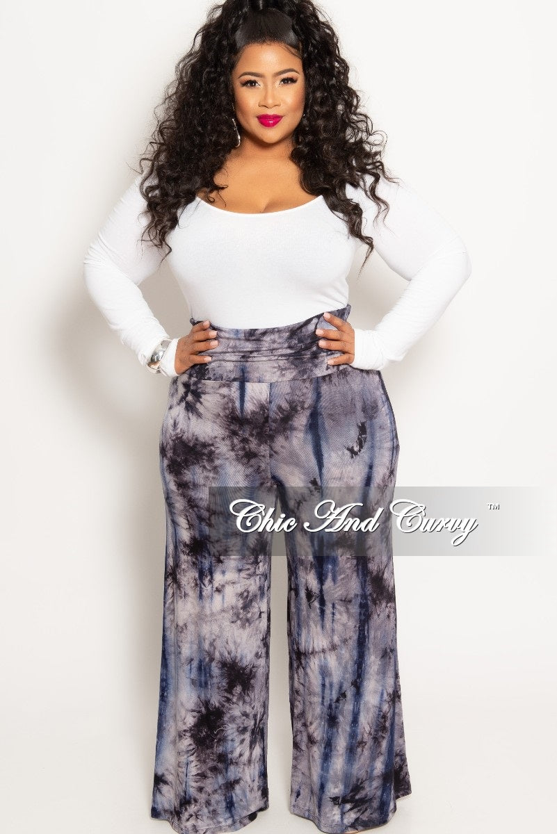 d8226e212c37 New Plus Size Palazzo Pants in Navy Grey and Black Tie Dye – Chic ...