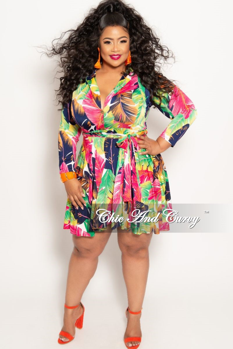 eddd75ba2355 New Plus Size Long Sleeve Button Up Skater Dress with Attached Tie in  Fuchsia Multi Color