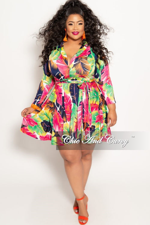 f207a20ac0c New Plus Size Long Sleeve Button Up Skater Dress with Attached Tie in  Fuchsia Multi Color