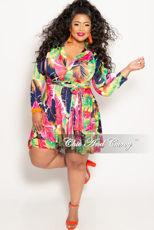 6b83f6d3659c New Plus Size Long Sleeve Button Up Skater Dress with Attached Tie in  Fuchsia Multi Color