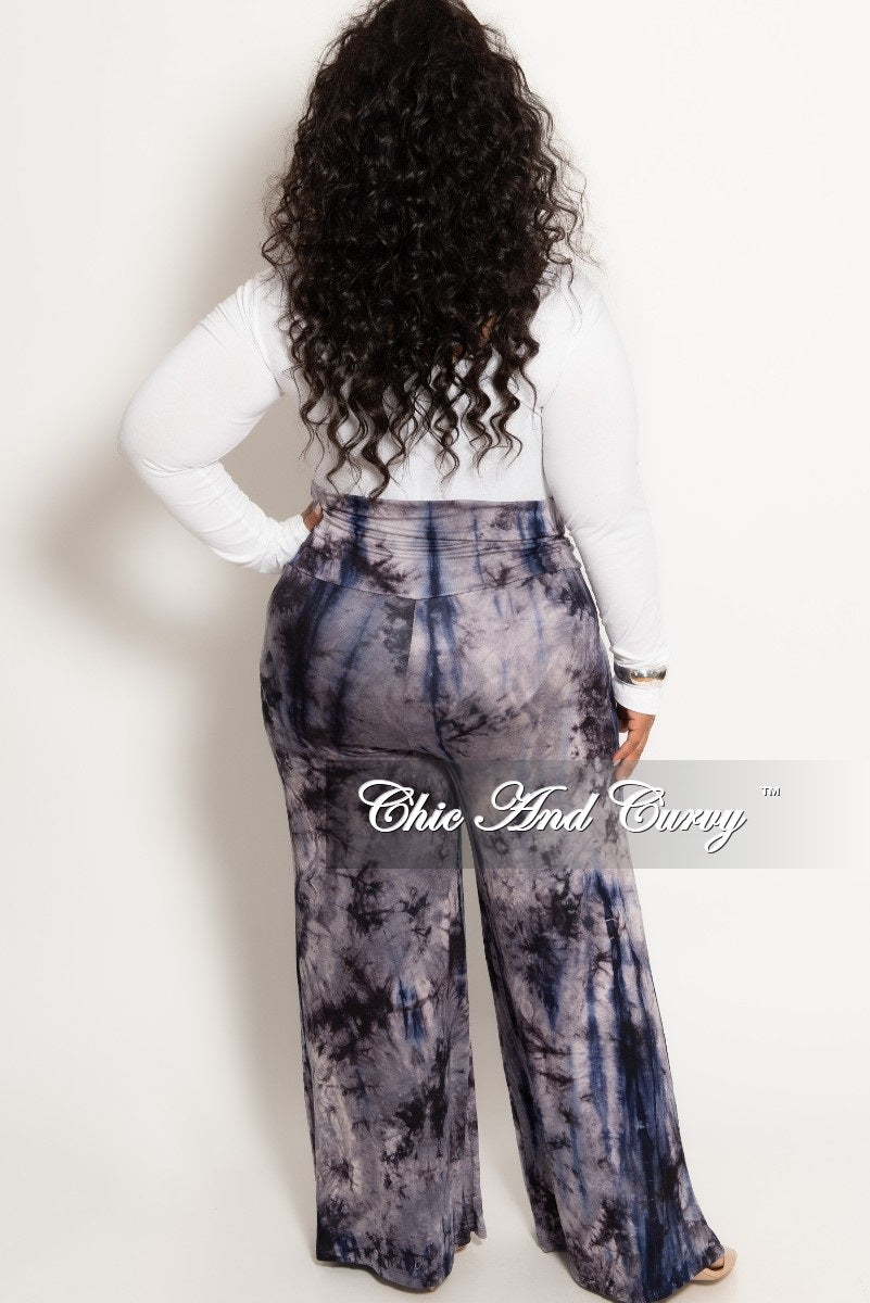 New Plus Size Palazzo Pants in Navy Grey and Black Tie Dye