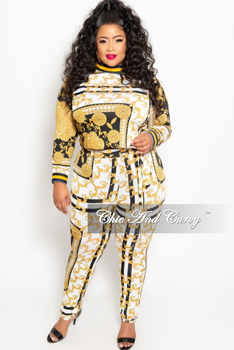 New Plus Size 2-Piece Long Sleeve Top and Pant Set with Tie in Black White and Gold Print