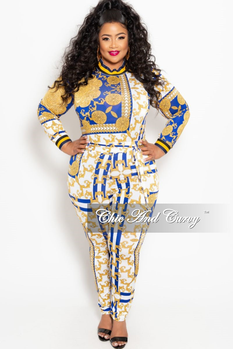 ba652030d57 New Plus Size 2-Piece Long Sleeve Top and Pant Set with Tie in Royal B –  Chic And Curvy