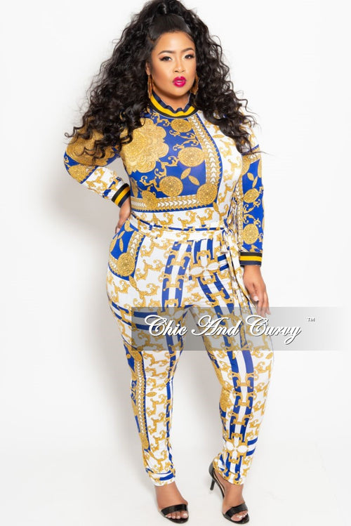 Final Sale Plus Size 2-Piece Long Sleeve Top and Pant Set with Tie in Royal Blue White and Gold Print