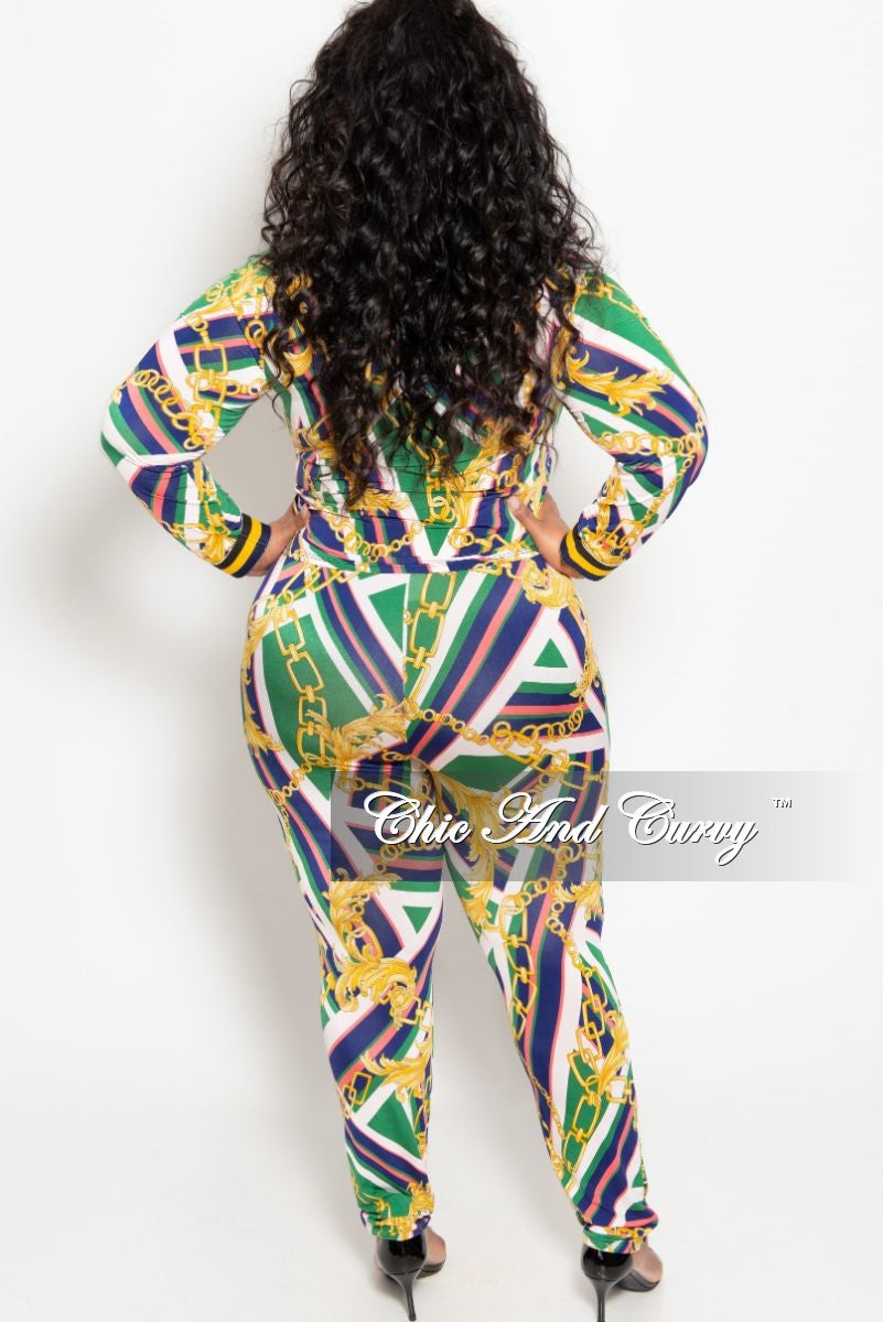 New Plus Size 2-Piece Long Sleeve Top and Pant Set with Tie in Navy Red Green White and Gold Chain Print