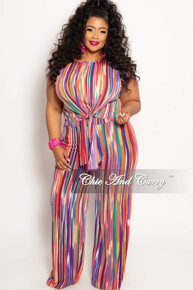 New Plus Size 2-Piece Tie Top and Pants Set in Multi Color Stripe ...