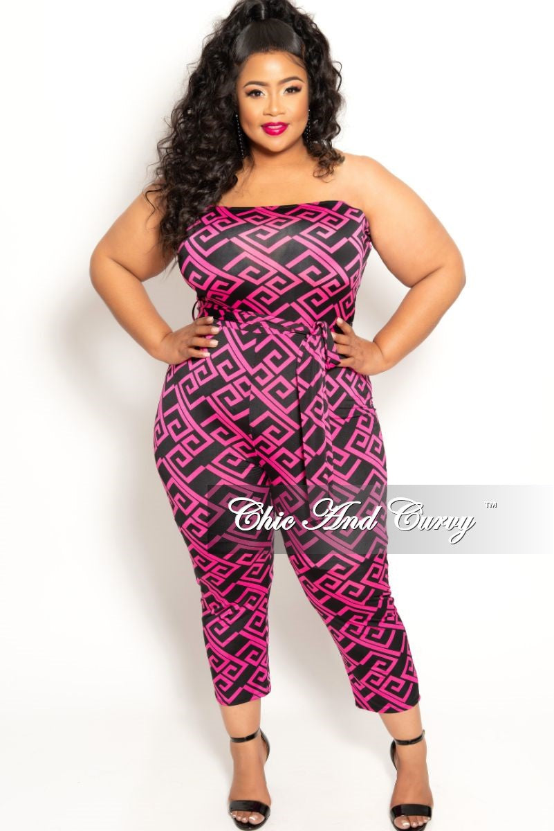 New Plus Size Strapless Jumpsuit with Attached Tie in Fuchsia and Black Maze Print