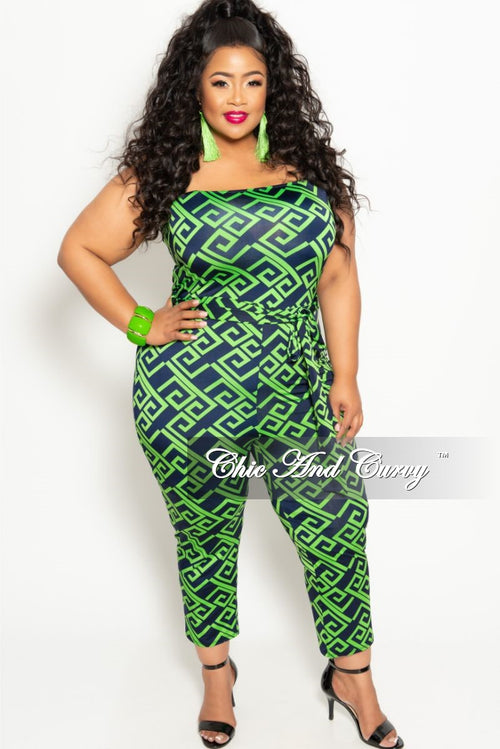 Final Sale Plus Size Strapless Jumpsuit with Attached Tie in Green and Navy Maze Print