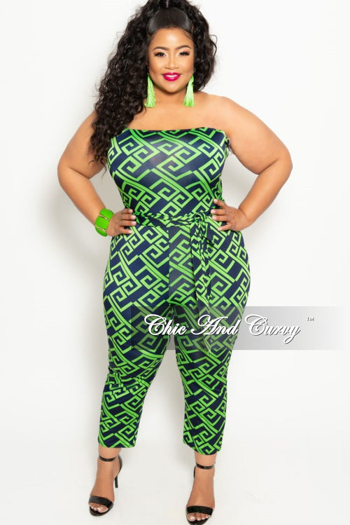 982e094c4d1 New Plus Size Strapless Jumpsuit with Attached Tie in Green and Navy Maze  Print